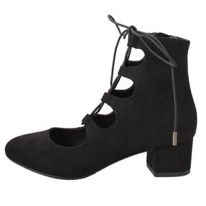 Black Closed Toe Lace up Faux Suede Mid Heel